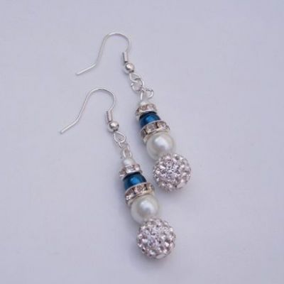 Glitzy Triple Bead Earrings